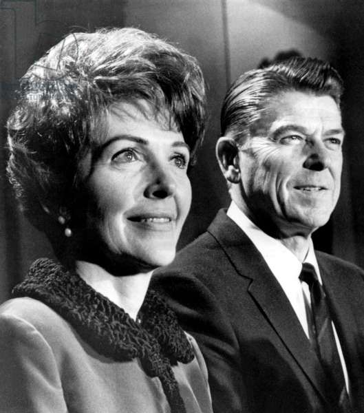 Nancy Reagan, Ronald Reagan at a press conference where he annouced his intention to run for governor of California, 1/4/66