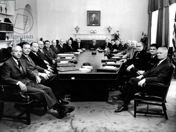 President Eisenhower poses with his second term Cabinet, May 10, 1957