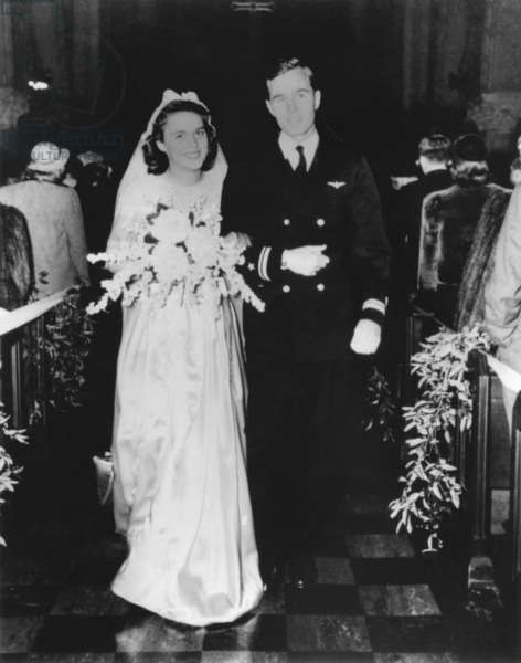 Future US President George H.W. Bush and Barbara Bush on their wedding day in Rye New York. Jan. 6 1945