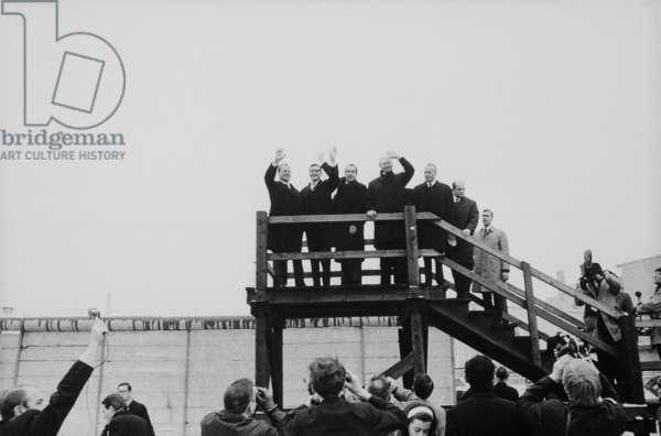 President Nixon visits the Berlin Wall at Moritzplatz Berlin. Feb. 2 1969