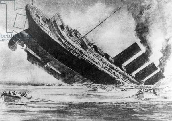 The sinking of the ocean liner, RMS Lusitania, torpedoed by a German U-boat, c. 1915.
