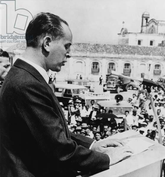 Guatemalan President Jacobo Arbenz Guzman in 1954. His 1952 land reform program threatened wealthy families and the United Fruit Company. He was deposed in a CIA covert action and eventually Colonel Carlos Castillo Armas became President in a military government