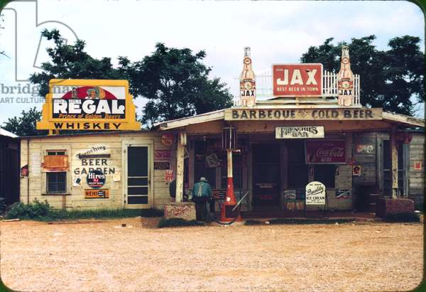 A cross roads store, bar, juke joint, and gas station in the cotton plantation area, Melrose, Louisiana, by Marion Post Wolcott, June, 1940
