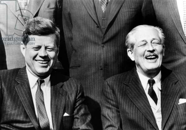 President John Kennedy and British Prime Minister Harold Macmillan. Macmillan saw himself as a mentor to the younger leader, who sought his advice during the Cuban Missile Crisis. May 4, 1961