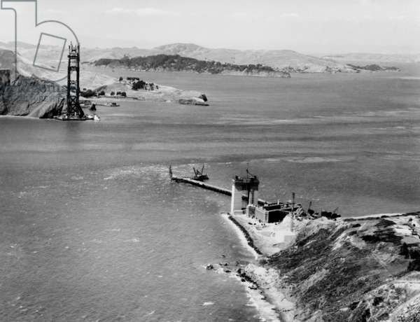 Early stage of Golden Gate Bridge construction, July 16, 1934