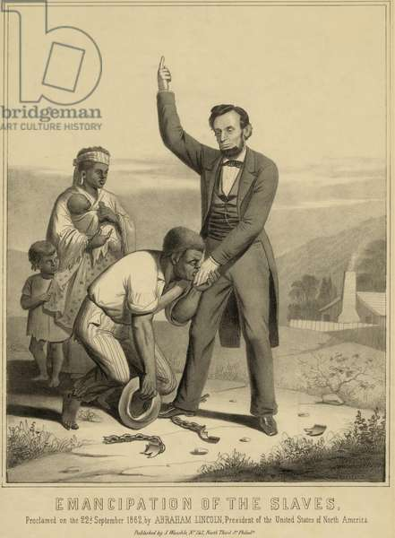 Allegorical print of Lincoln emancipated the slaves as proclaimed on the 22nd September 1862. 1870 print commemorating the Emancipation Proclamation