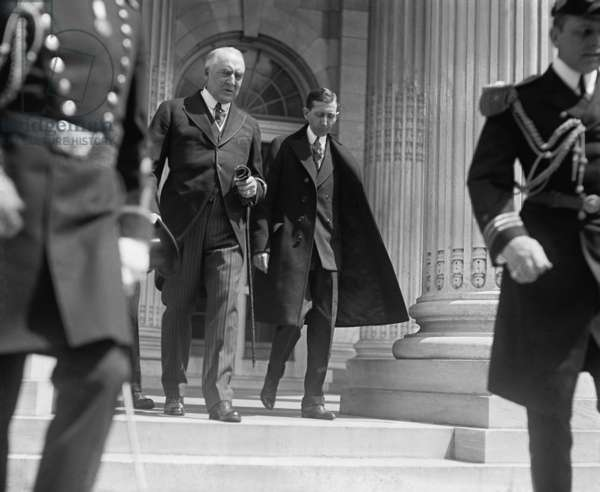 President Warren G. Harding (left) and his former Postmaster General, Will Hays on May 24, 1923
