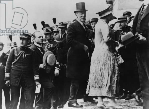 President Wilson at Versailles to sign of the Peace Treaty. July 1919. He is accompanied by his wife, Edith Bolling Wilson