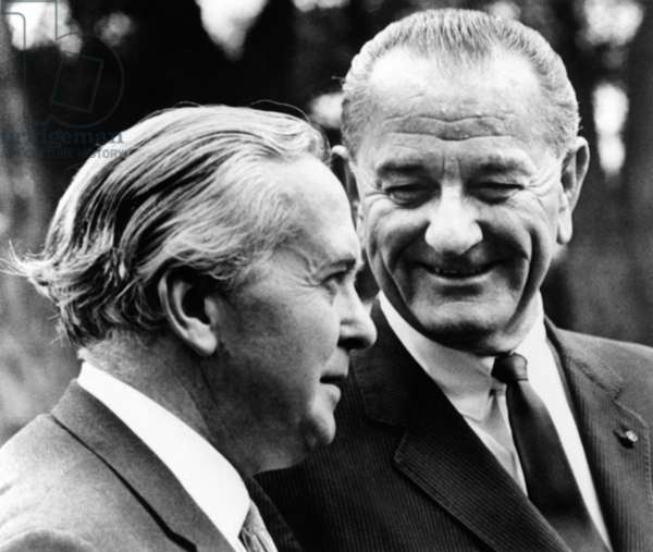 President Lyndon Johnson meeting British Prime Minister Harold Wilson. The Anglo-American special relationship was strained by differences over US Vietnam policy. June 8, 1967