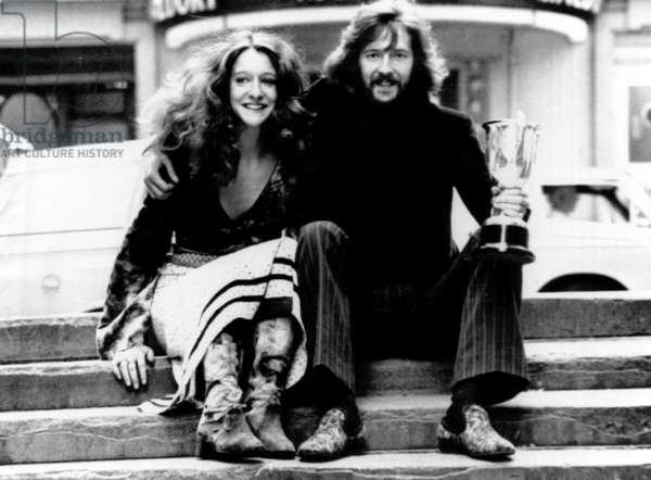 Eric Clapton and Alice Ormsby-Gore in London after announcing their engagement, 1969