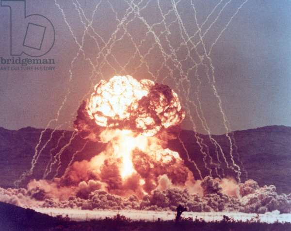 The MET shot detonated on a 400-foot tower with a yield of 22 kilotons. The Military Effects Test aimed to improve battle tactics for a nuclear battlefield. April 15, 1955, at Frenchman Flat, Nevada