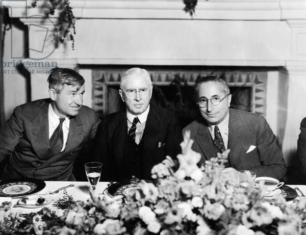 From left, Will Rogers, historian Mark Sullivan, (author of the 'Our Times' seriea), Louis B. Mayer, at a lunch honoring Sullivan at MGM, December 1933