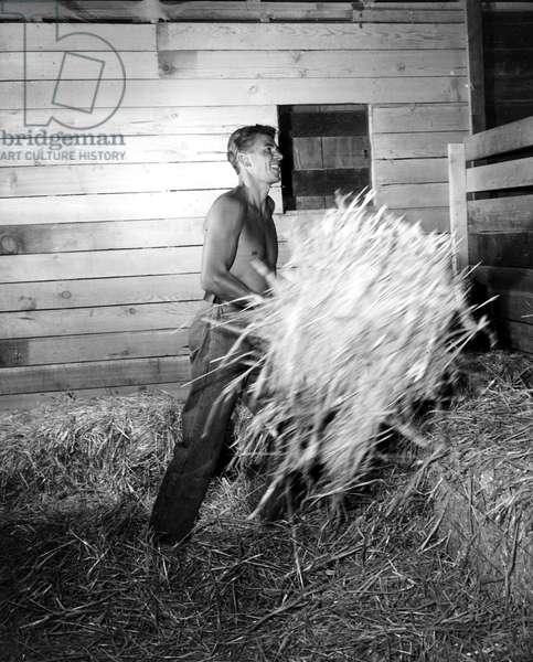 Ronald Reagan at his San Fernando Valley Ranch, 1949