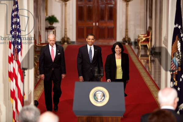 President Obama and VP Biden introducing Judge Sonia Sotomayor as his nominee for retiring Justice David Souter's U.S. Supreme Court seat. May 26 2009. (BSWH_2011_8_6)