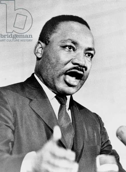 Rev. Martin Luther King, speaking at a rally in Crawfordville, Georgia. Months after the passage of the 1965 Voting Rights Act, he spoke on the continued need for struggle for full civil rights in Georgia. Oct. 11, 1965
