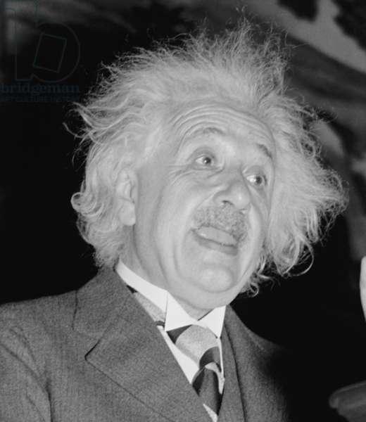 Albert Einstein (1879-1955), speaking in Washington, D.C. c. 1940