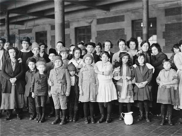 Immigrant children, Ellis Island, New York. c. 1908