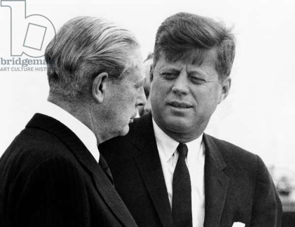 British Prime Minister Harold Macmillan (left) and President Kennedy. The leaders met in Bermuda for two days of talks. Dec. 21, 1961