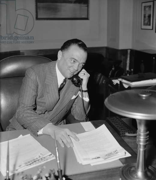 J. Edgar Hoover (1895-1972), as director of the Federal Bureau of Investigation in 1940. Under his leadership the FBI was established and over the next 32 years, he would hold the post, becoming so powerful that Presidents Kennedy and Johnson dared not fire him