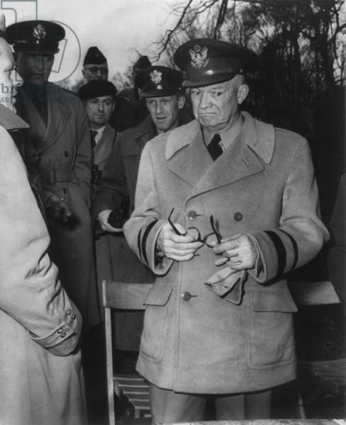 Gen. Dwight Eisenhower reacts to MacArthur's dismissal by Truman. April 11, 1951. Eisenhower was then Supreme Commander of the North Atlantic Treaty Organization (NATO), and with operational command of NATO forces in Europe