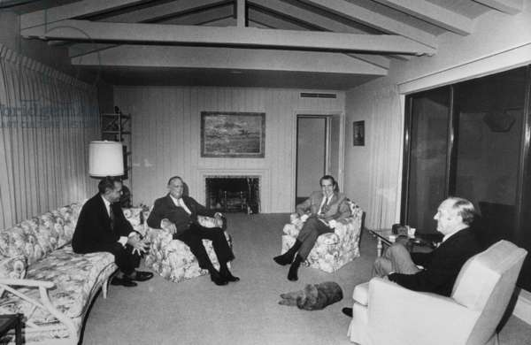 Edgar J. Hoover was a guest in Richard Nixon's Key Biscayne home. L to R Charles Rebozo Hoover President Nixon Sec. of State William Rogers. Dec. 1971