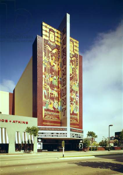 Movie Theaters, The Paramount Theatre, Arthur Fiedler, Ella Fitzgerald, Count Basie on marquee, exterior, 2025 Broadway, Oakland, California, c.1970s