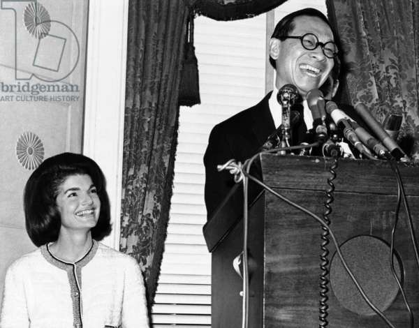 Jacqueline Kennedy and Architect Ieoh Ming Pei. Pei had been chosen as the architect for the John F. Kennedy Memorial Library. Mr. Pei, was a prominent architect and a naturalized American citizen, born in Canton, China. Dec. 13, 1964