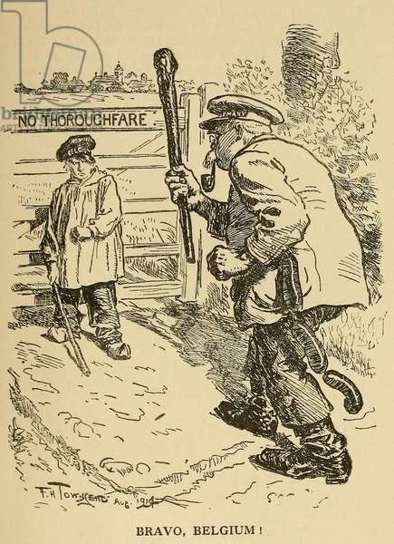 World War 1. Bravo Belgium! 'Punch' humor magazine cartoon celebrates the resistance of Belgium against the German invasion at the beginning of World War 1. 1914