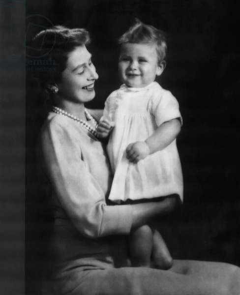 British Royal Family. Princess (and future Queen) Elizabeth of England and future Prince of Wales Prince Charles, 1949