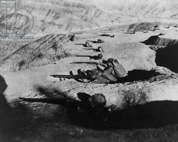 Chinese soldiers in fox holes during the Second Sino-Japanese War/ World War 2. c. 1942-43