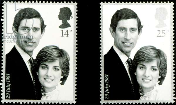 PRINCESS/LADY DIANA SPENCER, and PRINCE CHARLES, on their commemorative stamp honoring their wedding, 1981