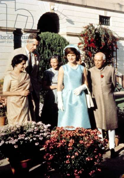 Indira Gandhi, Ambassador & Mrs. John Kenneth Galbraith, Jacqueline Kennedy & Prime Minister Nehru, India, 1961