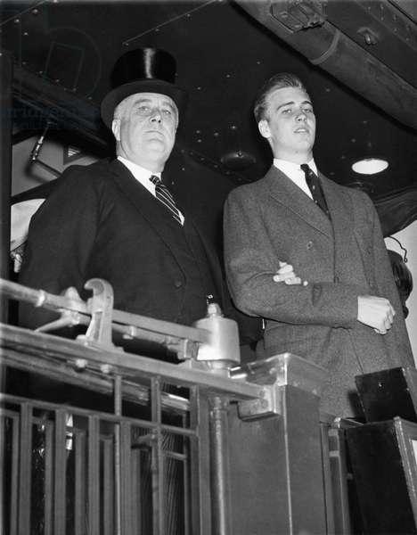 FDR Presidency. US President Franklin Delano Roosevelt and John Roosevelt, at Harvard Centenary, Boston, Massachusetts, 1936