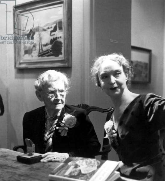 Grandma Moses and Lillian Gish, around the time that Lillian Gish portrayed Grandma Moses in the SCHLITZ PLAYHOUSE production of 'The Autobiography of Grandma Moses' in 1952