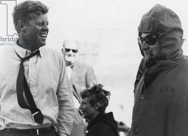 President John F. Kennedy, press secretary Pierre Salinger, at America's Cup races, 1962