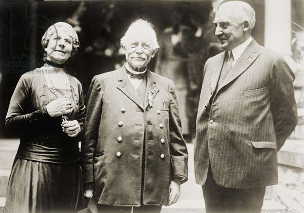 Warren G. Harding (1865-1923), with his wife Florence, and his father, Dr. George Tryon Harding. c. 1920