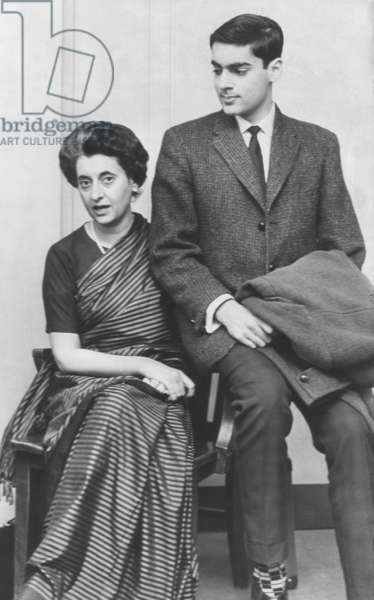 Indira Gandhi, Nehru's daughter with Rajiv Gandhi her son, April, 1962. Both became Prime Minister of India and both were assassinated while in office. Photo by Clayton Knipper, Cleveland Press