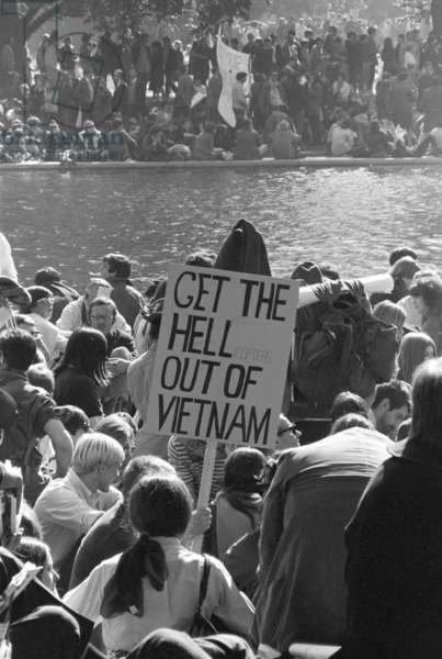 March on the Pentagon. Protesters hold a sign that reads: GET THE HELLicopters OUT OF VIETNAM. Oct. 21, 1967