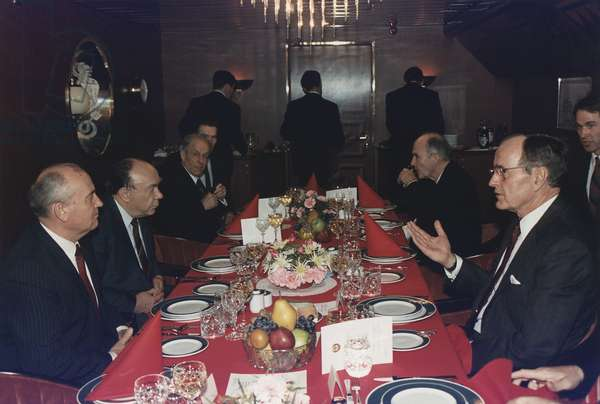 Presidents George Bush has lunch with Mikhail Gorbachev aboard the Soviet cruise ship 'Maxim Gorky' during the Malta Summit. Dec. 2 1989