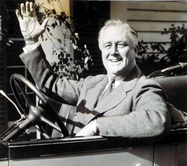 President Franklin Delano Roosevelt in Warm Springs, GA, 1935.