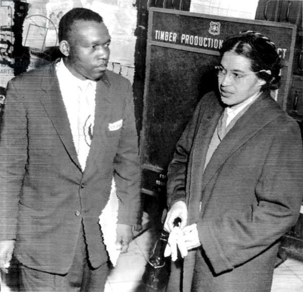 ROSA PARKS, and her attorney, Charles D. Langford after her arrest on charges of urging an illegal boycott of city buses on 2/22/1956. Montgomery, AL 2/23/1956.
