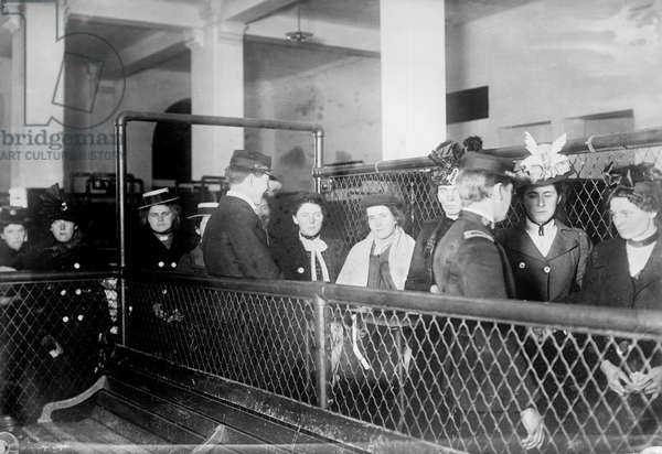 Immigration. Female European immigrants being processed at Ellis Island, c. 1907