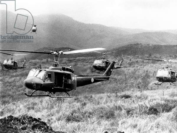 Vietnam War, American helicopters leaving staging area of Khe Sanh to carry South Vietnamese paratroopers to advance positions in Laos, 02/12/71