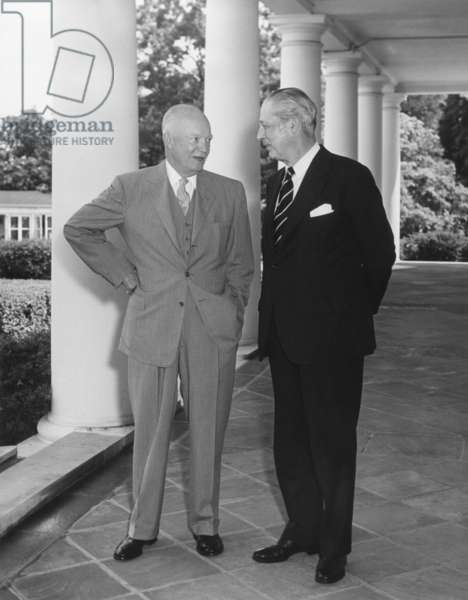 President Eisenhower with British Prime Minister Harold Macmillan on the West Wing Portico. June 9, 1958.