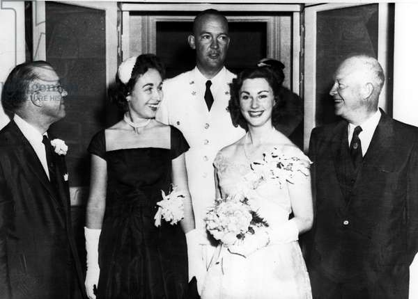 President Dwight D. Eisenhower with Milton Eisenhower, Mr. and Mrs. John Eisenhower, Ruth Eakin Eisenhower, Baltimore, MD, 09-07-1957.