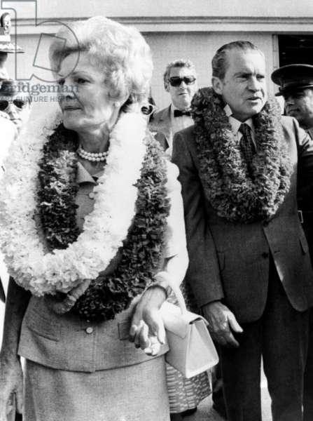 First Lady Pat Nixon and U.S. President Richard Nixon in Kaneohe, Hawaii, 1972.