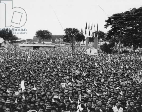 Massive demonstration in favor of President Sukarno in Makassar, Indonesia. After the first volatile decade of independence politics, Sukarno promoted 'Guided Democracy'. The resulting centralization of power around Sukarno was controversial, but he remained President until 1967.