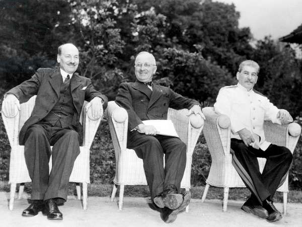 The Potsdam Conference: British Prime Minister Clement Attlee, U.S. President Harry S. Truman, Soviet General Secretary Joseph Stalin, Potsdam, Germany, August 1, 1945