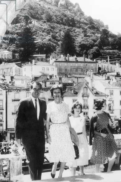 The Nixon family vacationing in Europe: former Vice President Richard Nixon, Pat Nixon, Tricia Nixon, Julie Nixon, Sintra, Portugal, June 19, 1963