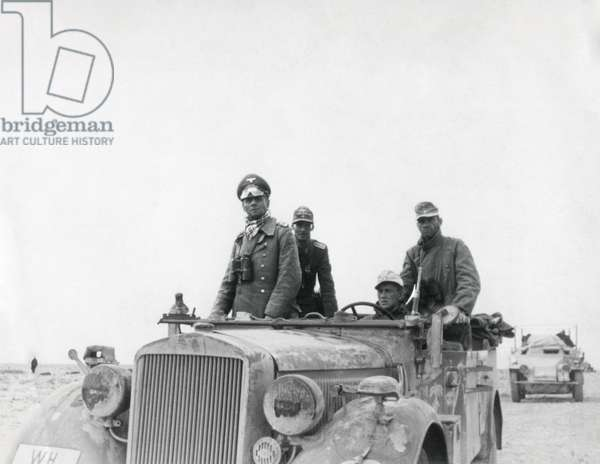 German General Rommel with the 15th Panzer Division between Tobruk and Sidi Omar. 1941 in North Africa, Libya, during World War 2